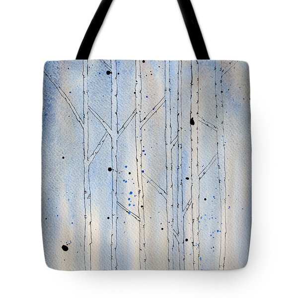 Tote Bag featuring the painting Winter Abstract by Rebecca Davis
