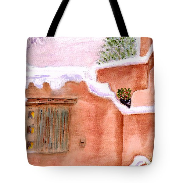 Tote Bag featuring the painting Winter Adobe by Paula Ayers