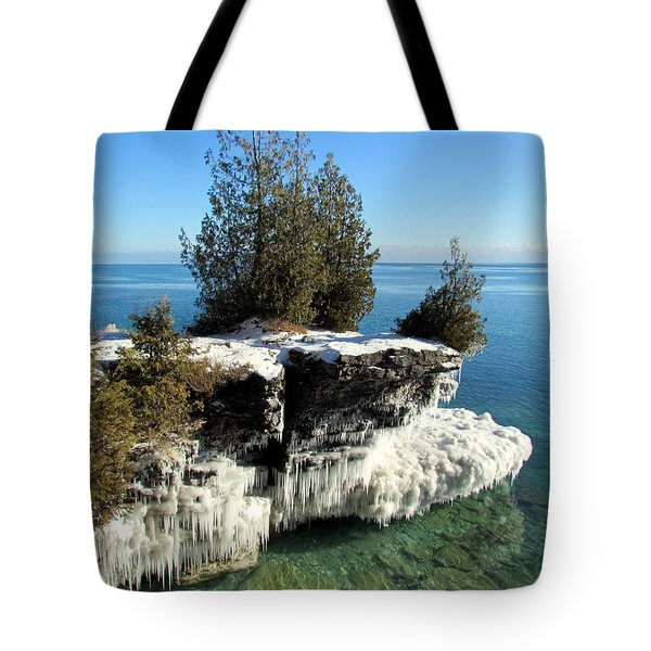 Winter At Cave Point Tote Bag