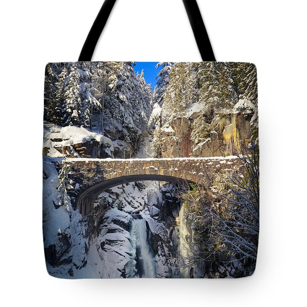 Winter At Christine Falls Tote Bag by Inge Johnsson