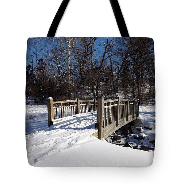 Winter At Creekside Tote Bag by Sara  Raber