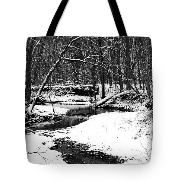 Tote Bag featuring the photograph Winter At Pedelo Black And White by Deena Stoddard