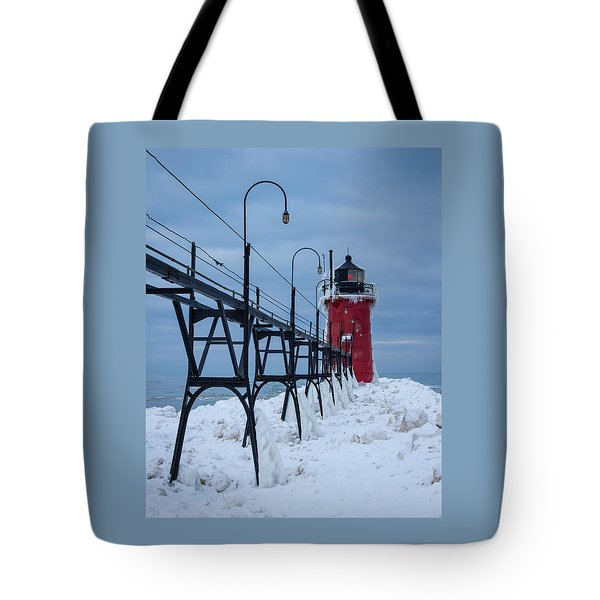 Winter At South Haven Lighthouse Tote Bag