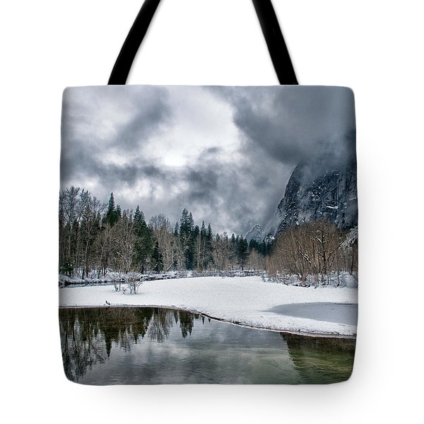 Winter At Swinging Bridge Tote Bag