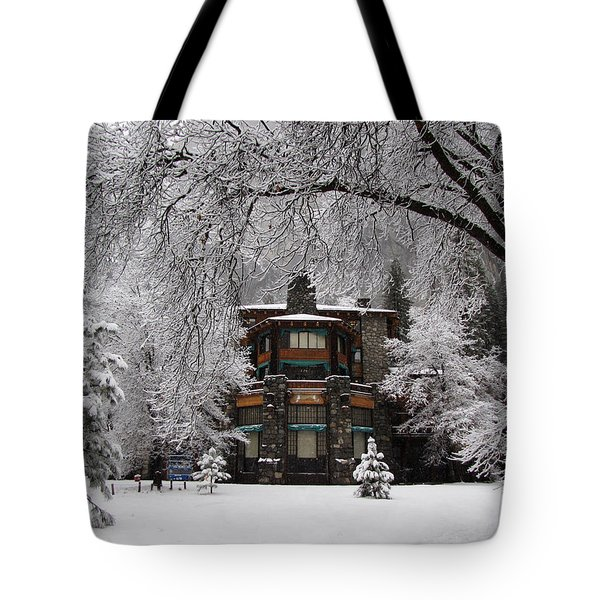 Winter At The Ahwahnee In Yosemite Tote Bag
