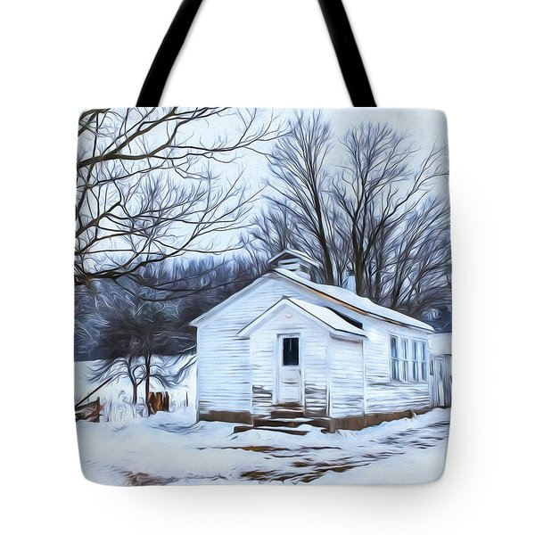 Winter At The Amish Schoolhouse Tote Bag