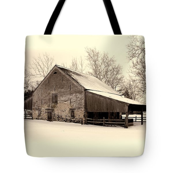 Winter At The Horse Barn Tote Bag
