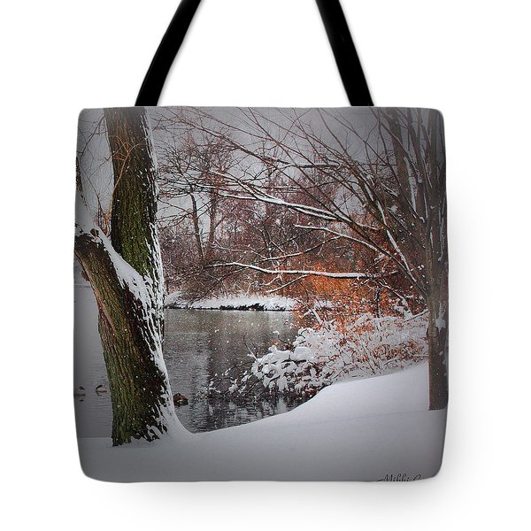 Winter At The Pond Tote Bag by Mikki Cucuzzo