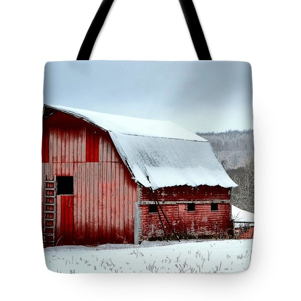 Winter Barn Tote Bag by Deena Stoddard