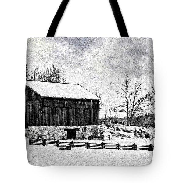 Winter Barn Impasto Version Tote Bag by Steve Harrington