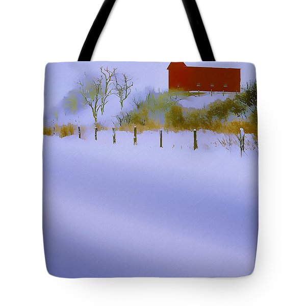 Winter Barn Tote Bag by Ron Jones