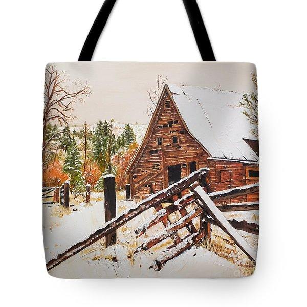 Winter - Barn - Snow In Nevada Tote Bag