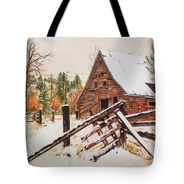 Tote Bag featuring the painting Winter - Barn - Snow In Nevada by Jan Dappen