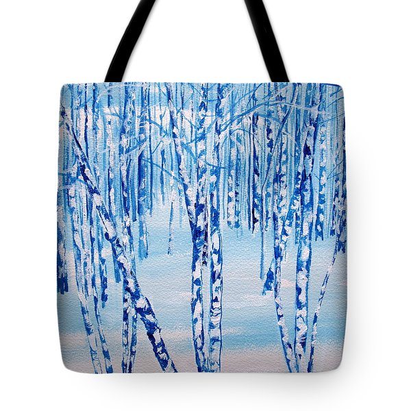 Tote Bag featuring the painting Winter Birch by Ellen Canfield