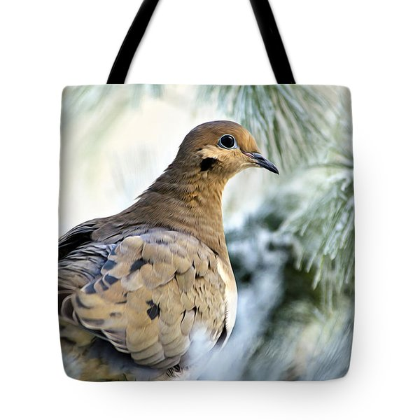 Winter Bird Mourning Dove Tote Bag by Christina Rollo