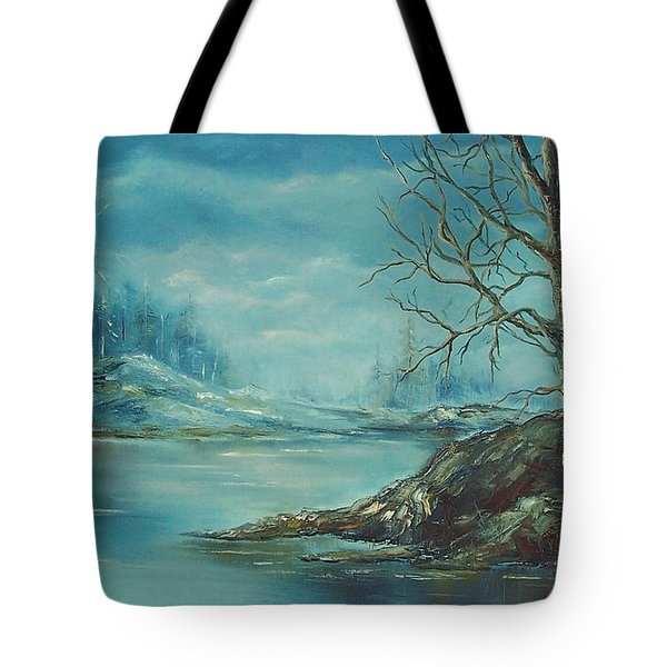 Winter Blue Tote Bag by Mary Wolf