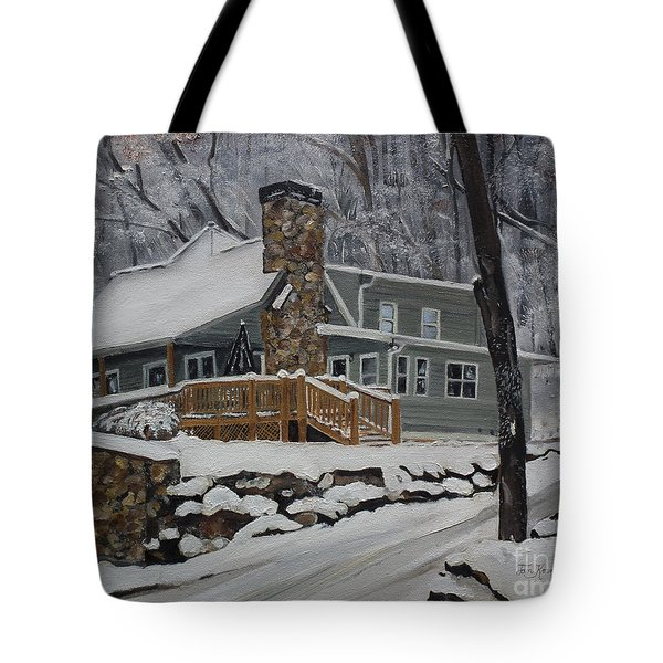Winter - Cabin - In The Woods Tote Bag