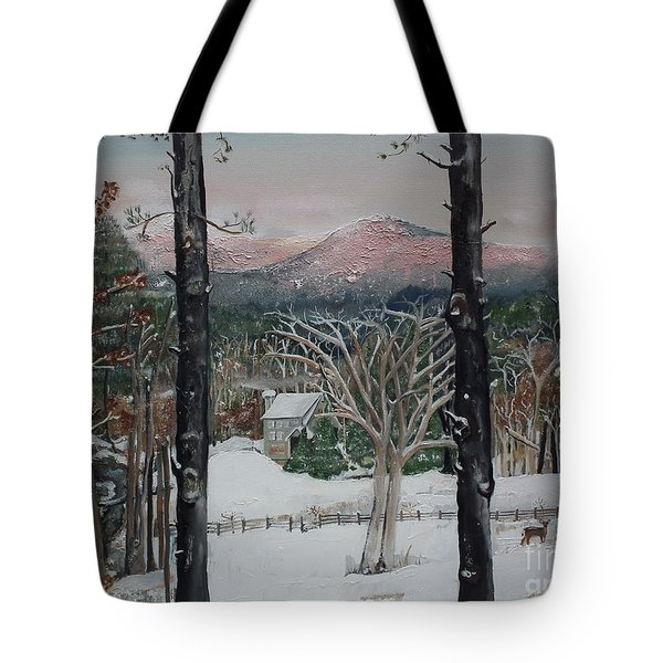 Tote Bag featuring the painting Winter - Cabin - Pink Knob by Jan Dappen