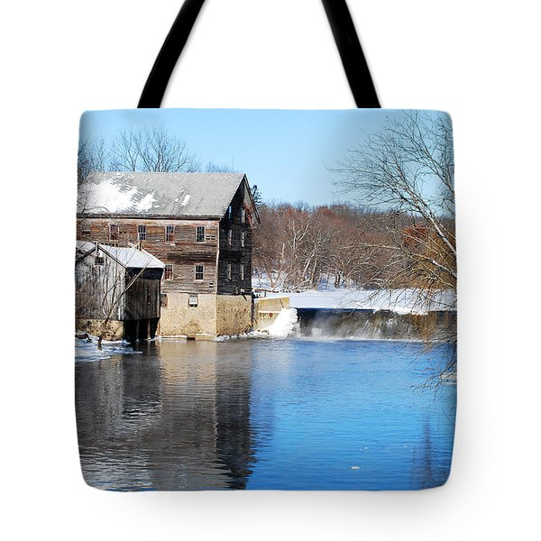 Winter Capture Of The Old Jaeger Rye Mill Tote Bag by Janice Adomeit