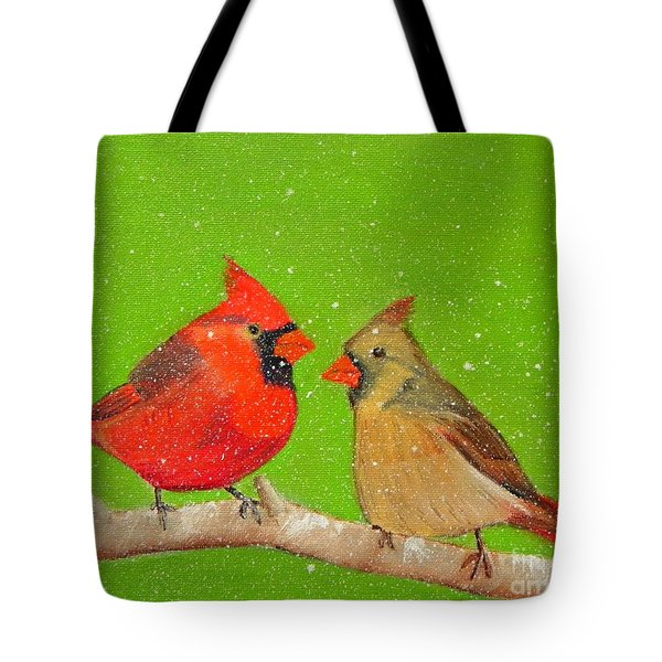 Winter Cardinals Tote Bag