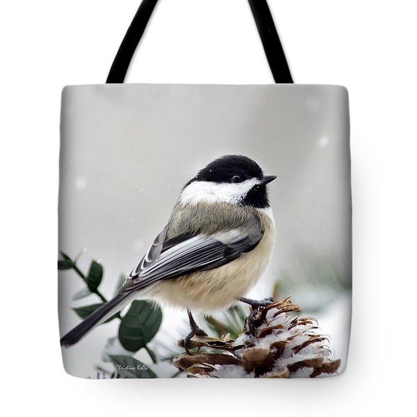Winter Chickadee Tote Bag