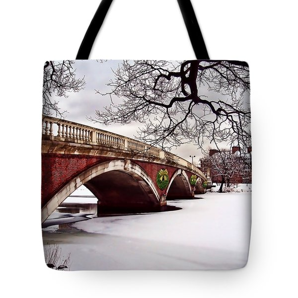 Winter Christmas On The Charles River Boston Tote Bag by Elaine Plesser