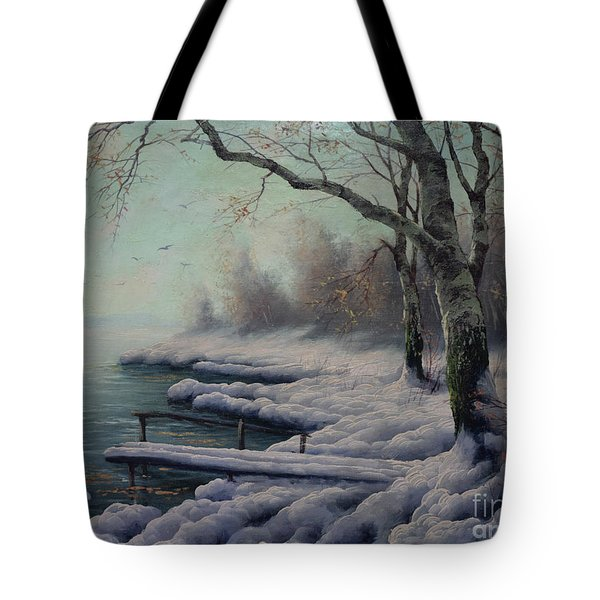 Winter Coming On The Riverside Tote Bag