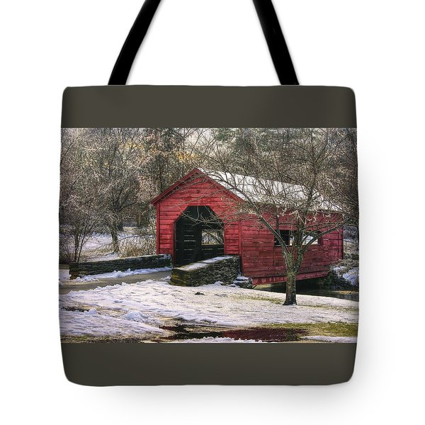 Winter Crossing In Elegance - Carroll Creek Covered Bridge - Baker Park Frederick Maryland Tote Bag