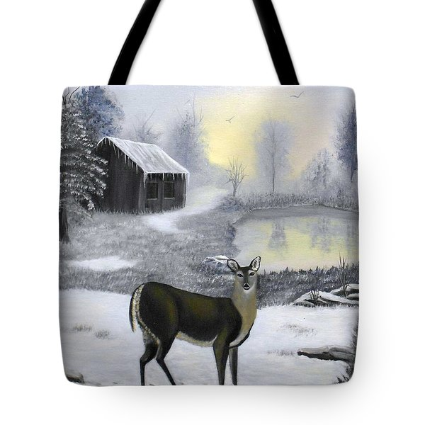 Winter Doe Tote Bag by Sheri Keith
