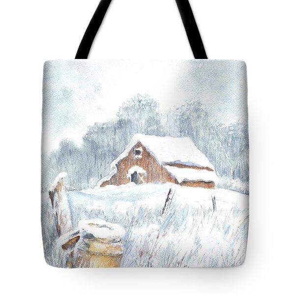 Winter Down On The Farm Tote Bag by Carol Wisniewski