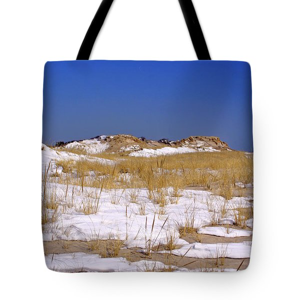 Tote Bag featuring the photograph Winter Dunes Fire Island by Karen Silvestri