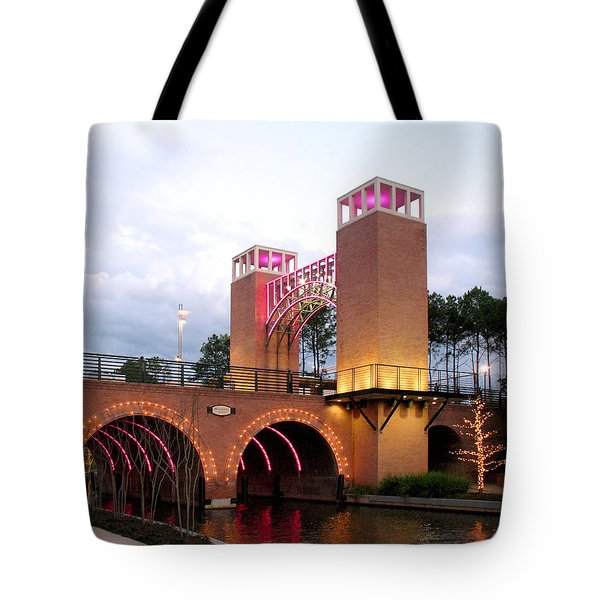 Winter Evening Lights On The Woodlands Waterway Tote Bag by Connie Fox