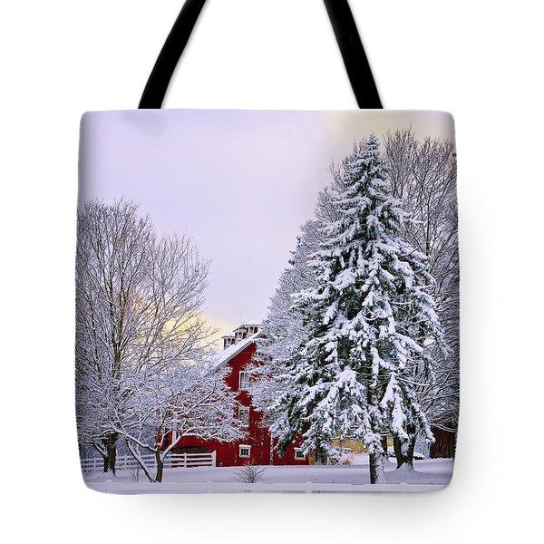 Winter Farm Scene Tote Bag by Timothy Flanigan