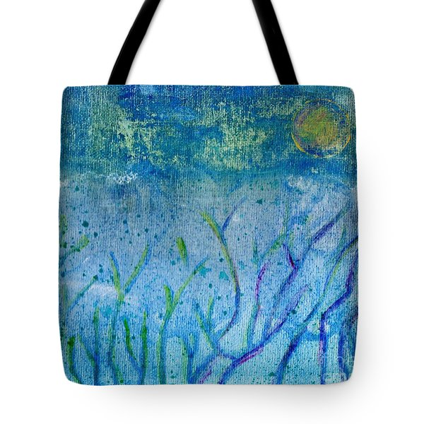 Winter Forest In Moonlight Tote Bag by Desiree Paquette