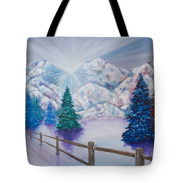 Tote Bag featuring the painting Winter Glow by Melinda Cummings