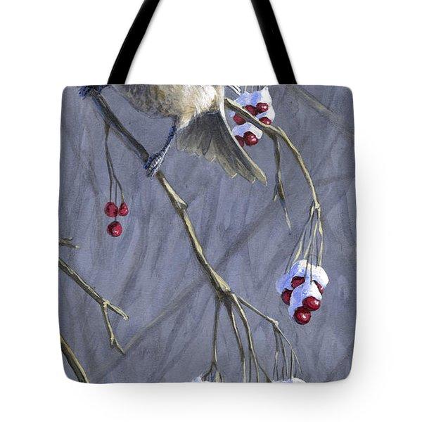 Winter Harvest 1 Chickadee Painting Tote Bag