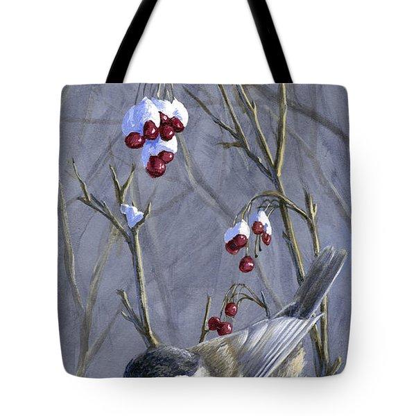 Winter Harvest 2 Chickadee Painting Tote Bag