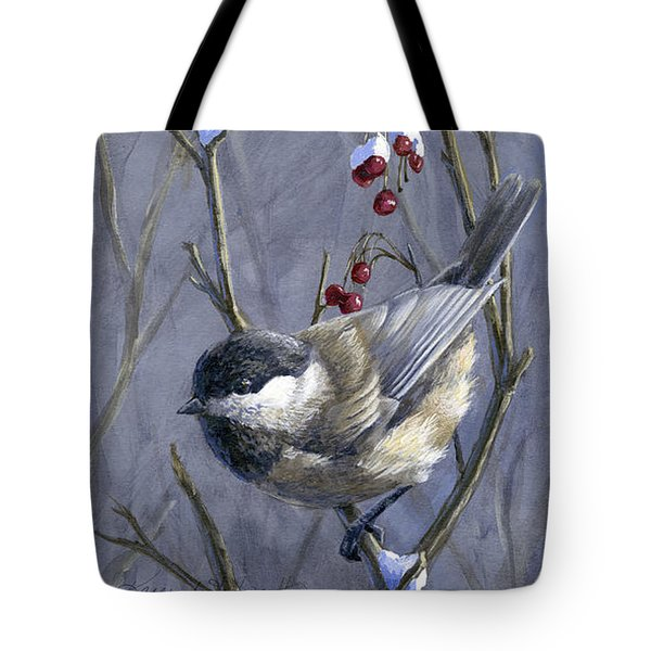 Winter Harvest 2 Chickadee Painting Tote Bag