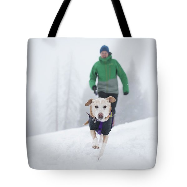 Winter Hiking With The Dog Tote Bag