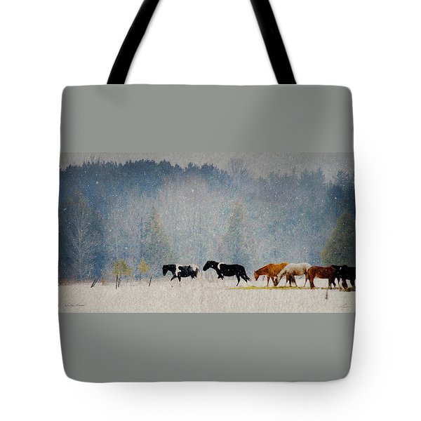 Tote Bag featuring the photograph Winter Horses by Ann Lauwers