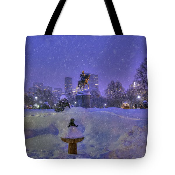 Winter In Boston - George Washington Monument - Boston Public Garden Tote Bag