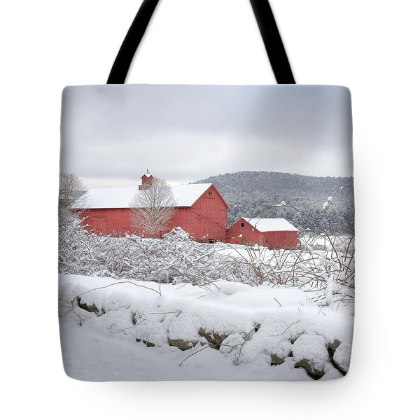 Winter In Connecticut Square Tote Bag by Bill Wakeley