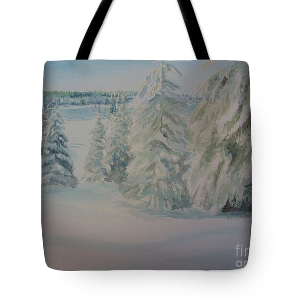 Tote Bag featuring the painting Winter In Gyllbergen by Martin Howard
