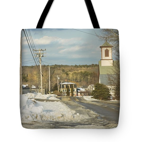 Winter In Round Pond Maine Tote Bag by Keith Webber Jr