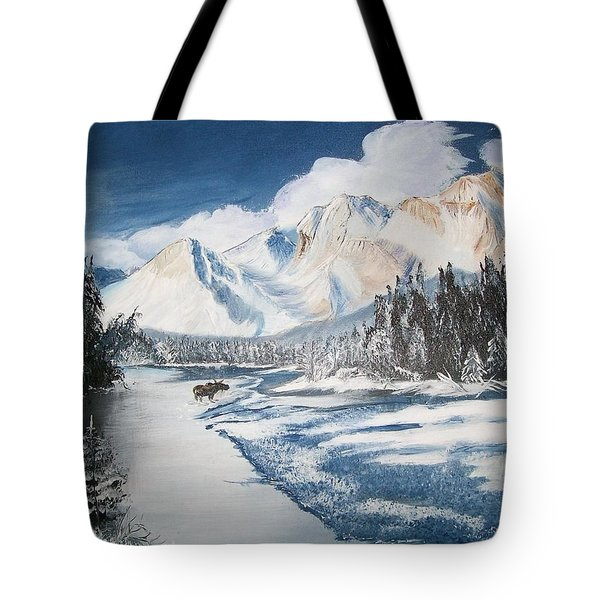 Tote Bag featuring the painting Winter In The Canadian Rockies by Sharon Duguay
