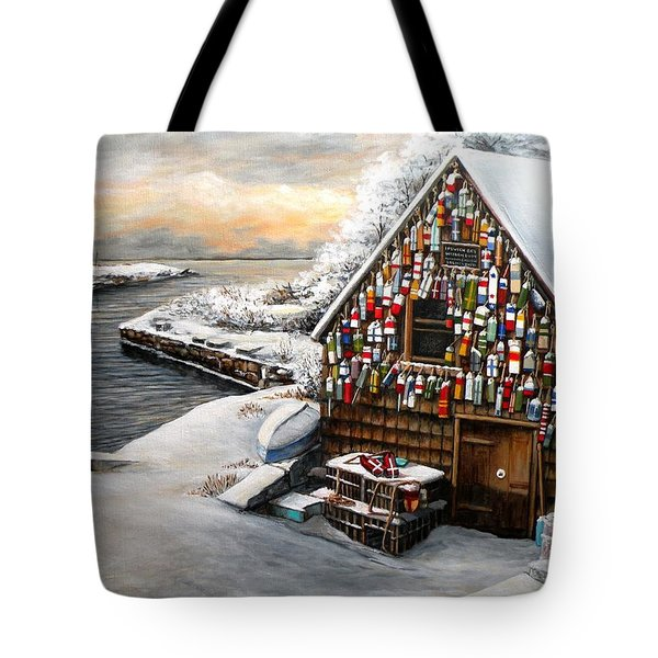 Winter Ipswich Bay Wooden Buoys  Tote Bag