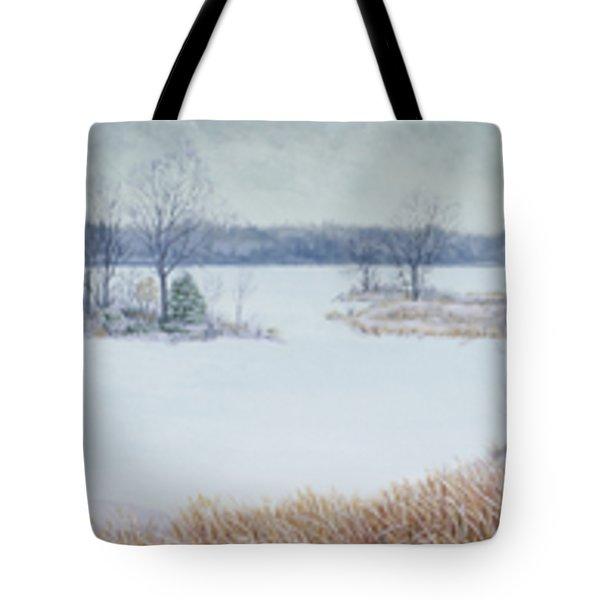 Winter Lake And Cedars Tote Bag