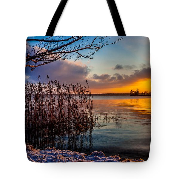 Tote Bag featuring the photograph Winter Lake Sunset With A Tree Lighted In Red And Orange  by Julis Simo