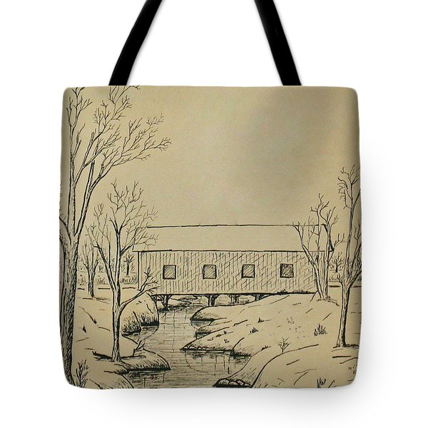 Winter Landscape In Ink Tote Bag