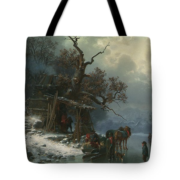 Winter Landscape With Figures On A Frozen River Tote Bag by Heinrich Hofer